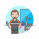equipment, exercise, fitness, man, sports, trainer, treadmill, weightlifting icon