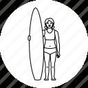 beach, surf, surfer, surfing icon