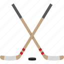 hockey, ice, puck, sticks icon
