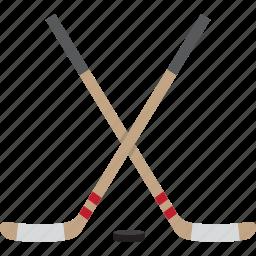 hockey, ice, puck, sticks icon