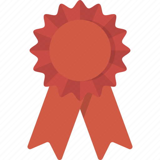 award, place, red, ribbon, second icon