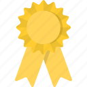 award, place, reward, ribbon, third, yellow icon