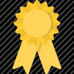 award, place, reward, ribbon, third, yellow icon