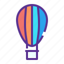 air, balloon, fly, fun, parachute, transport, travel icon