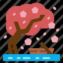 boat, cloud, sakura, sun, tree