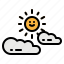cloud, cloudy, sky, sun, weather