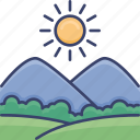 bush, landscape, mountain, sun, sunny, tree icon
