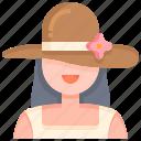 woman, girl, hat, spring, female
