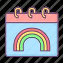 calendar, spring, easter, date, rainbow