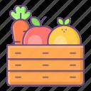 harvest, farm, basket, fruits, food