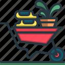 wheel, barrow, trolley, farming, gardening, plant