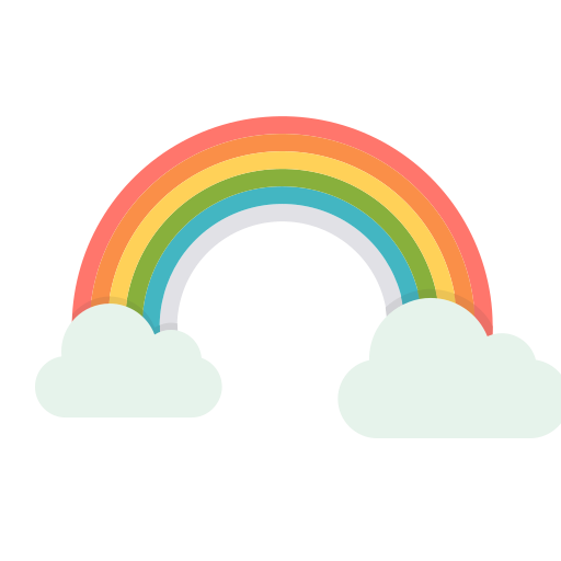 cloud, colorful, rainbow, spring, sun, vibrant icon