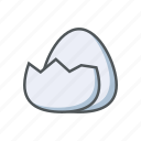 crack, egg, filled, food, outline, spring icon