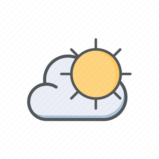 cloud, filled, outline, spring, sun, sunny, weather icon
