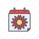 calendar, date, filled, flower, outline, spring, summer icon