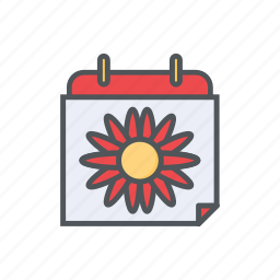 calendar, date, filled, flower, outline, spring, summer icon