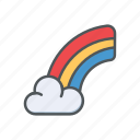 cloud, filled, outline, rain, rainbow, spring icon