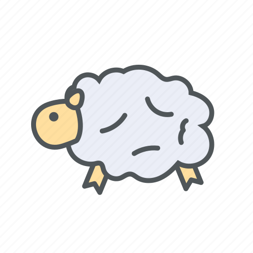 farm, filled, milk, outline, sheep, spring, woll icon