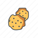 biscuit, breakfast, cookies, filled, outline, spring icon