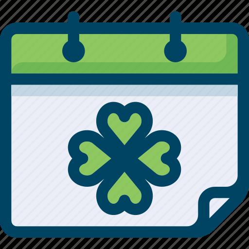 calendar, celebrate, clover, leaf, patrick, spring, st patrick day icon