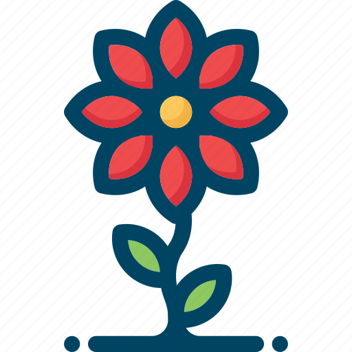 bloom, blossom, flower, grow, red, spring icon