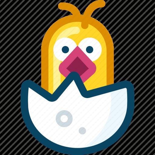 birth, chick, chicken, egg, shell, spring, yumminky icon