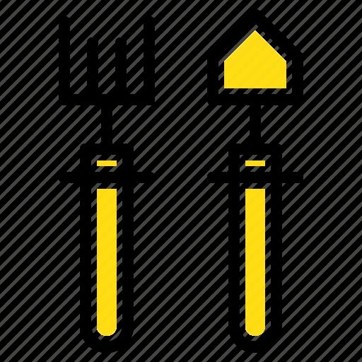 garden, gardener, rake, shovel icon