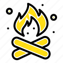 camp, camping, fire, hot, nature icon