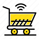 cart, shopping, trolly, wifi icon