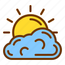 cloudy, nature, spring, sun, weather icon