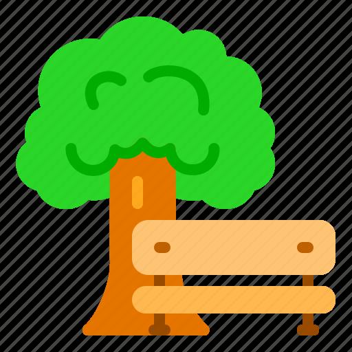 chair, garden, nature, park, tree icon