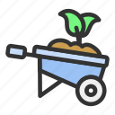barrow, easter, spring, wheelbarrow icon
