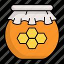 honey jar, honey dipper, beehive, container, honey, honeycomb