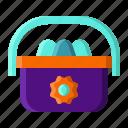 bag, basket, eggs, spring