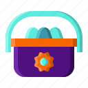 bag, basket, eggs, spring icon