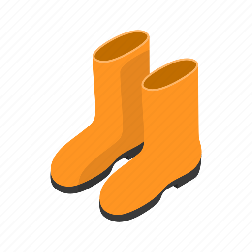 boot, clothing, isometric, rubber, safety, water, waterproof icon