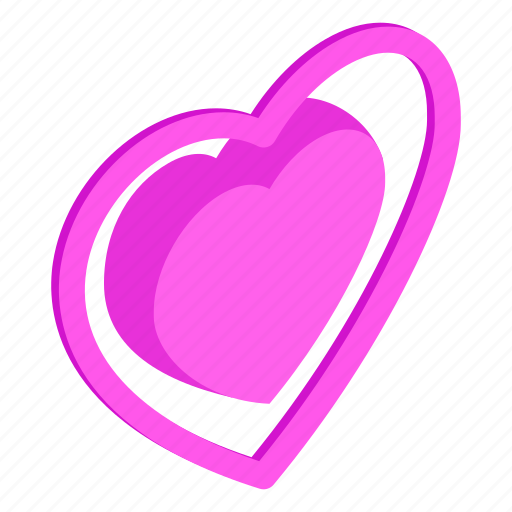 day, heart, holiday, isometric, love, shape, valentine icon