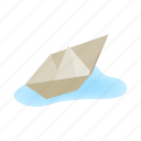 isometric, toy, travel, paper, origami, ship, boat icon