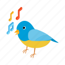 animal, bird, isometric, nature, note, singing, song icon
