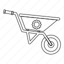garden, gardening, line, outline, tool, wheelbarrow, work icon