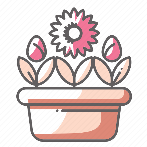 flowers, pot, rose, spring icon