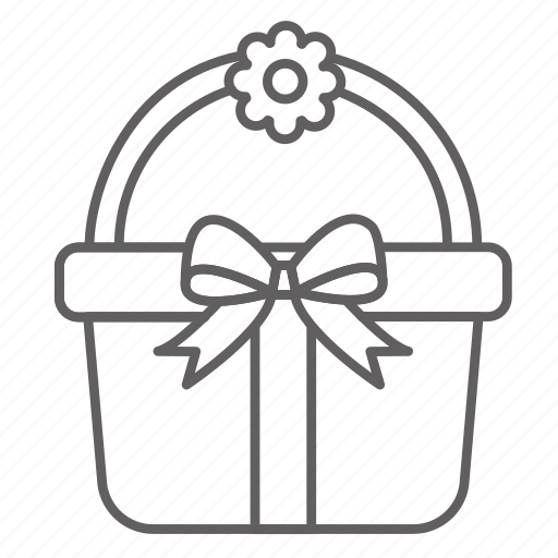 Basket, container, flower, picnic, ribbon, season, spring icon - Download on Iconfinder