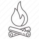 bonfire, camping, fire, flame, outdoors icon