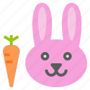 animal, bunny, carrot, face, rabbit icon