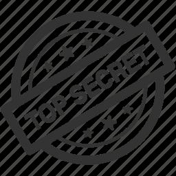 confidential, hidden, protection, secret, security, stamp, top secret icon