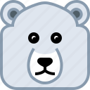 animals, avatar, bear, ice, polar, square, yumminky icon