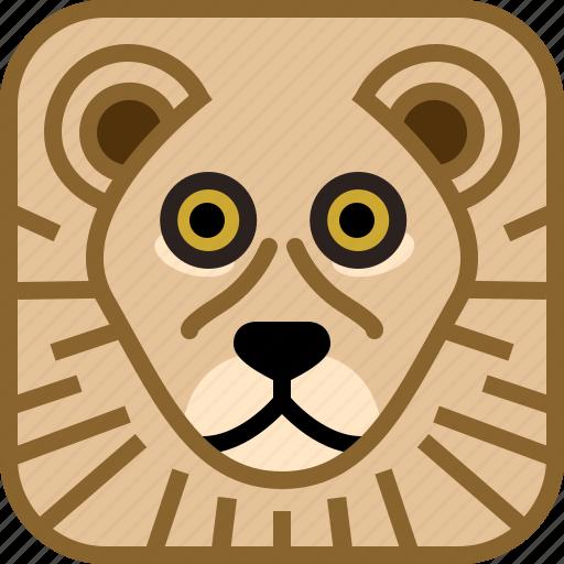 animals, avatar, cat, lion, square, yumminky, zoo icon