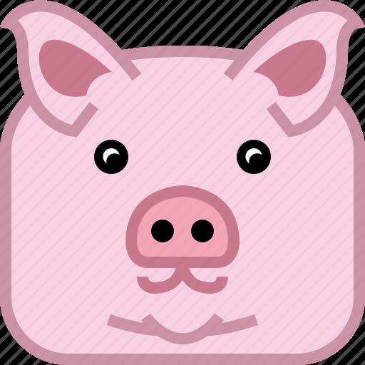 animals, avatar, farm, pig, square, swine, yumminky icon