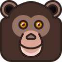 animals, chimpanzee, jocko, monkey, square, yumminky, zoo icon