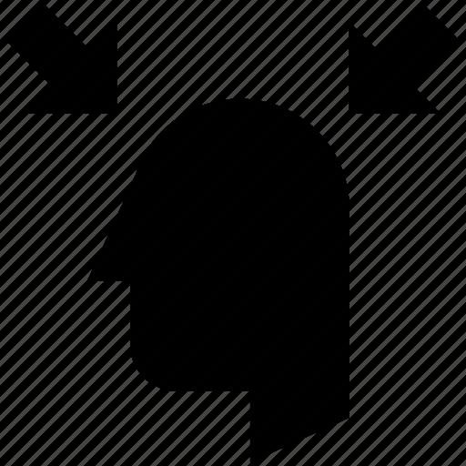 arrows, head, human, scan icon
